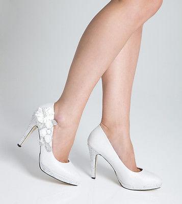 scarpe-da-matrimonio-sposa-sera-festa-notte-tacco-alto-donna-bianco-size-7